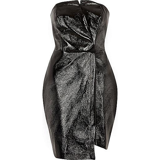Zwarte bandeau bodyconjurk van imitatieleer
