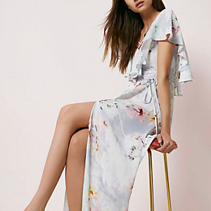 Lavender floral print cape maxi dress