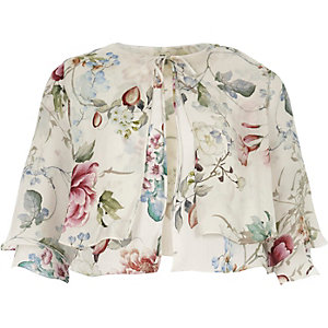 Cream floral print bolero