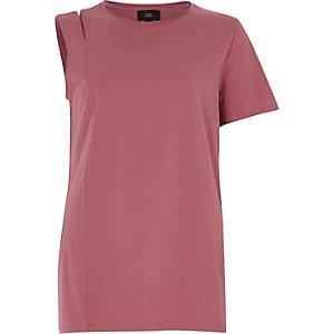 Red washed one shoulder slashed T-shirt