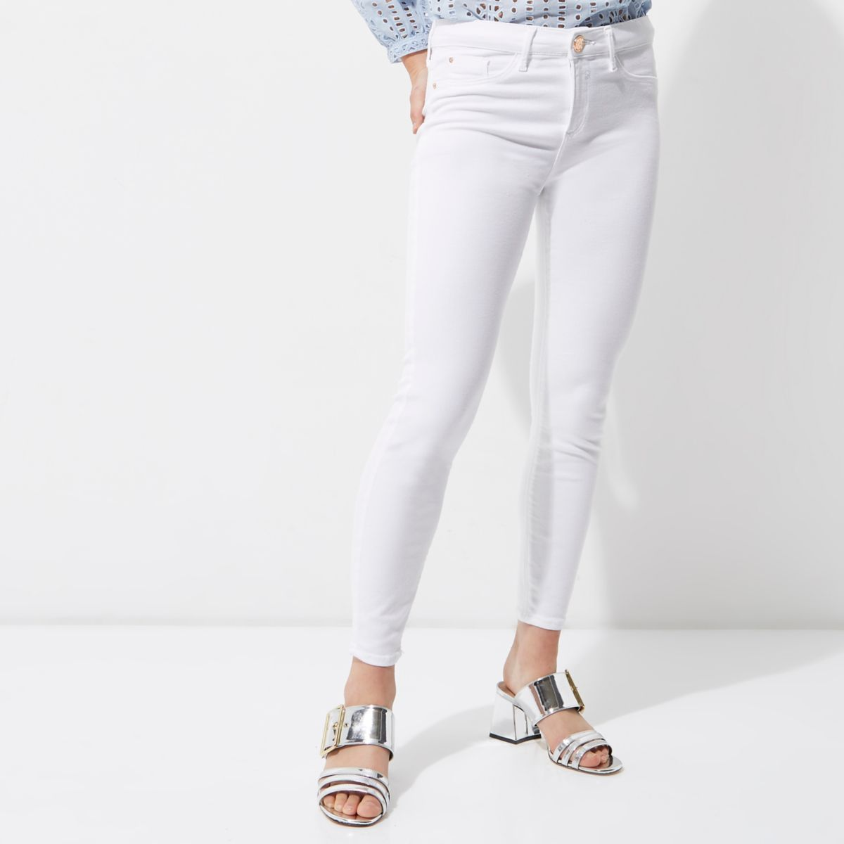 Petite white Molly skinny jeggings