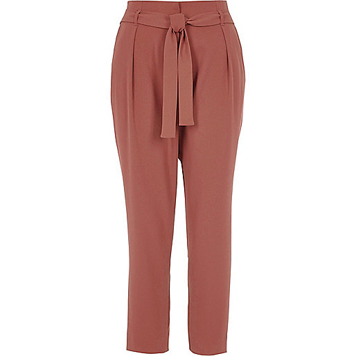 Copper red tapered tie waist trousers