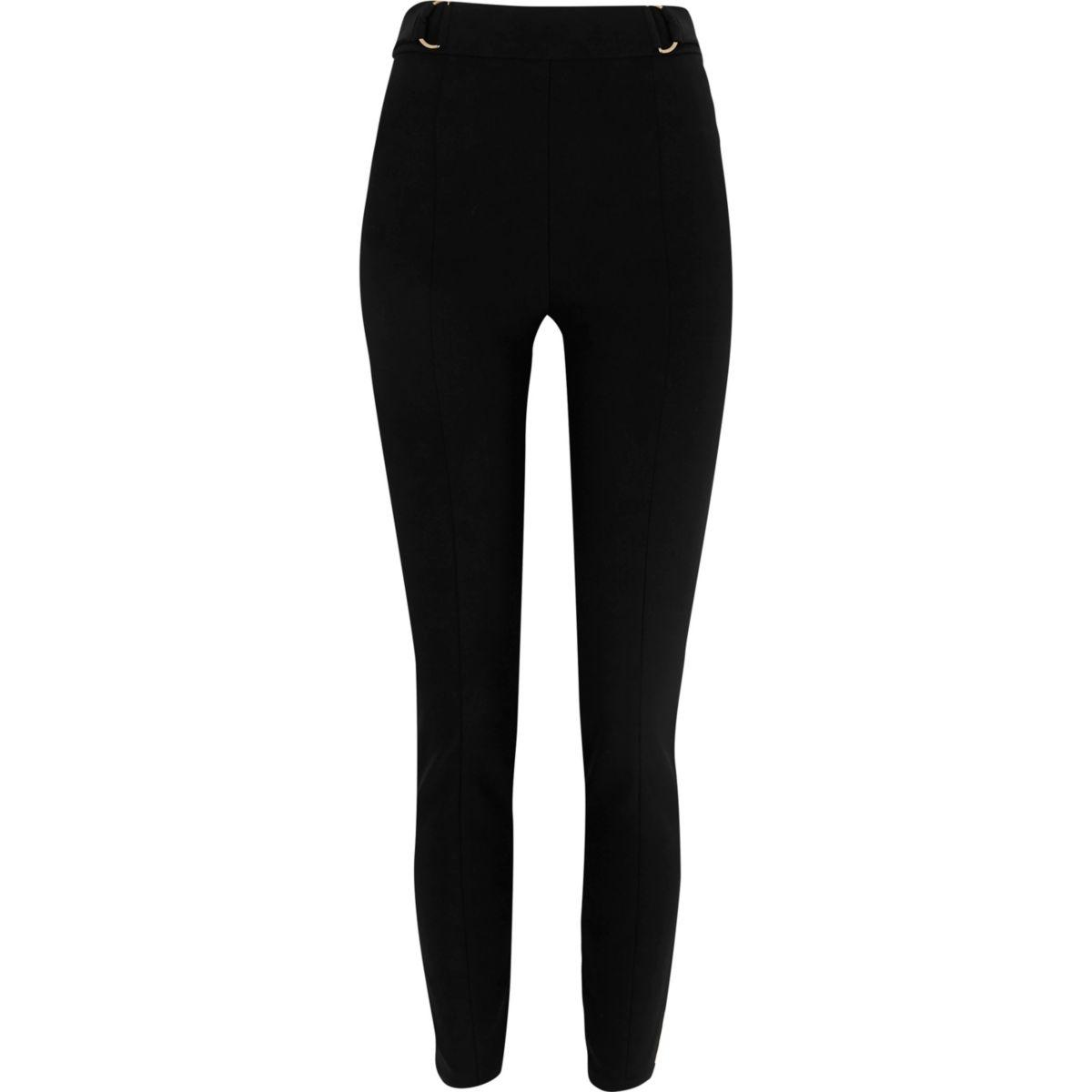 Pantalon skinny taille haute noir avec anneau