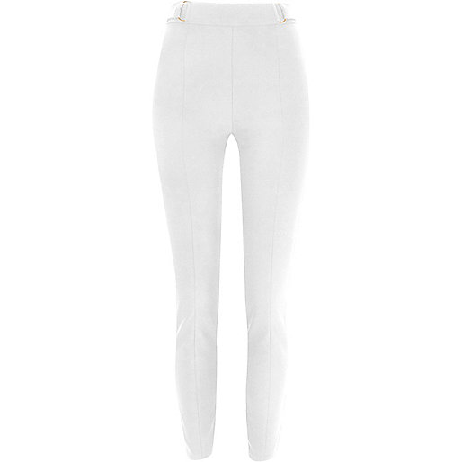 White D-ring high waisted trousers