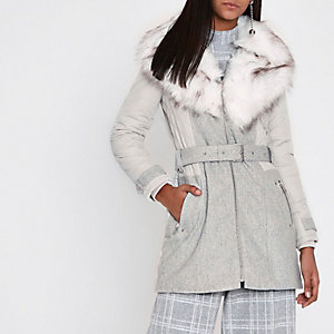 Grey padded and wool belted fur collar coat