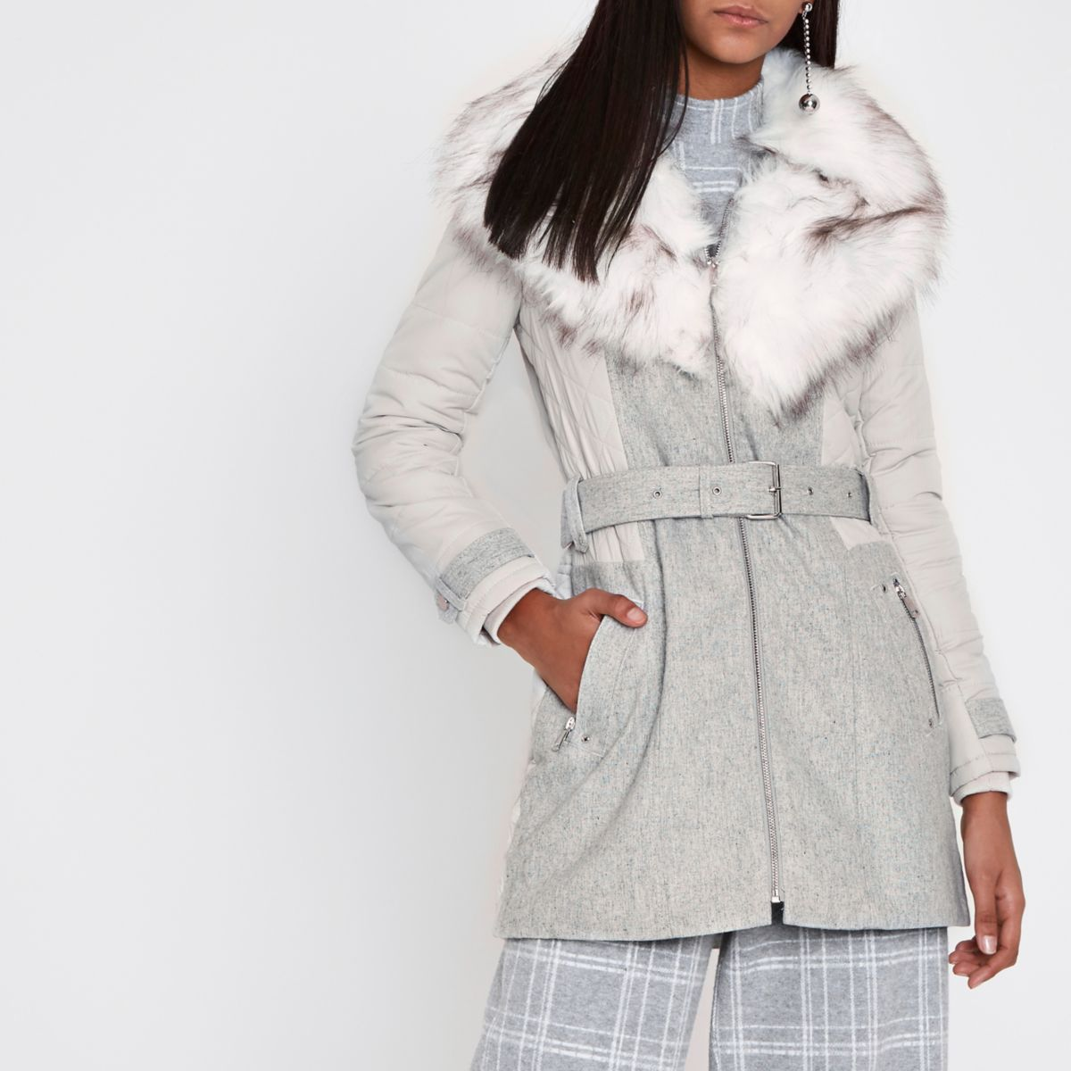 Grey padded wool belted faux fur collar coat