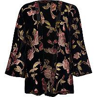 Kimono fleuri effet usé noir