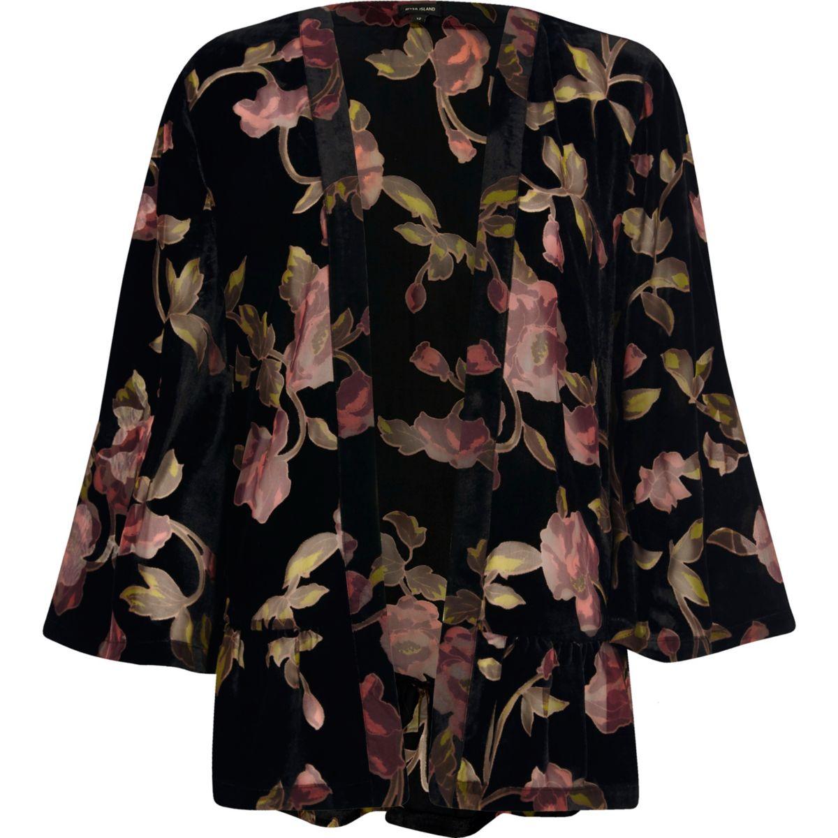 Zwarte burnout kimono met bloemenprint