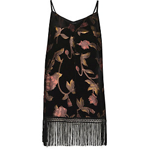 Black burnout floral fringe hem cami top