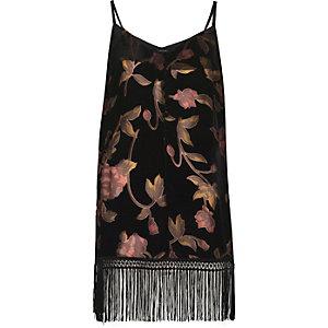 Caraco à fleurs noir effet usé bordé de franges