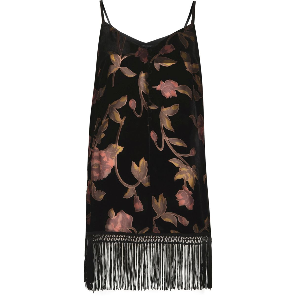 Black burnout floral fringe hem cami top