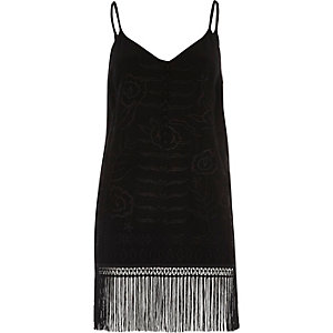 Black floral embroidered fringed cami top