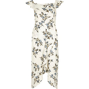 Cream floral frill bardot wrap midi dress