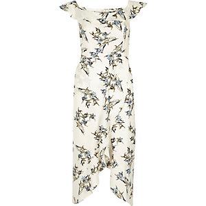 Robe mi-longue Bardot croisée à fleurs et volants