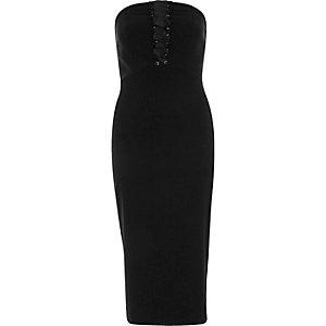 Black corset bandeau bodycon midi dress