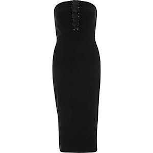 Black corset bandeau bodycon midi dress