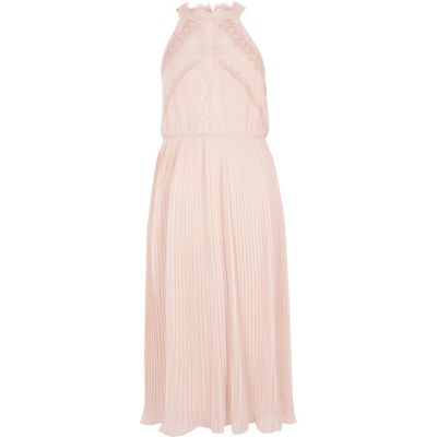 River Island Lichtbeige mouwloze midi-jurk met kant