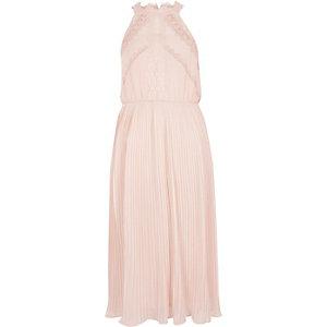 Lichtbeige mouwloze midi-jurk met kant