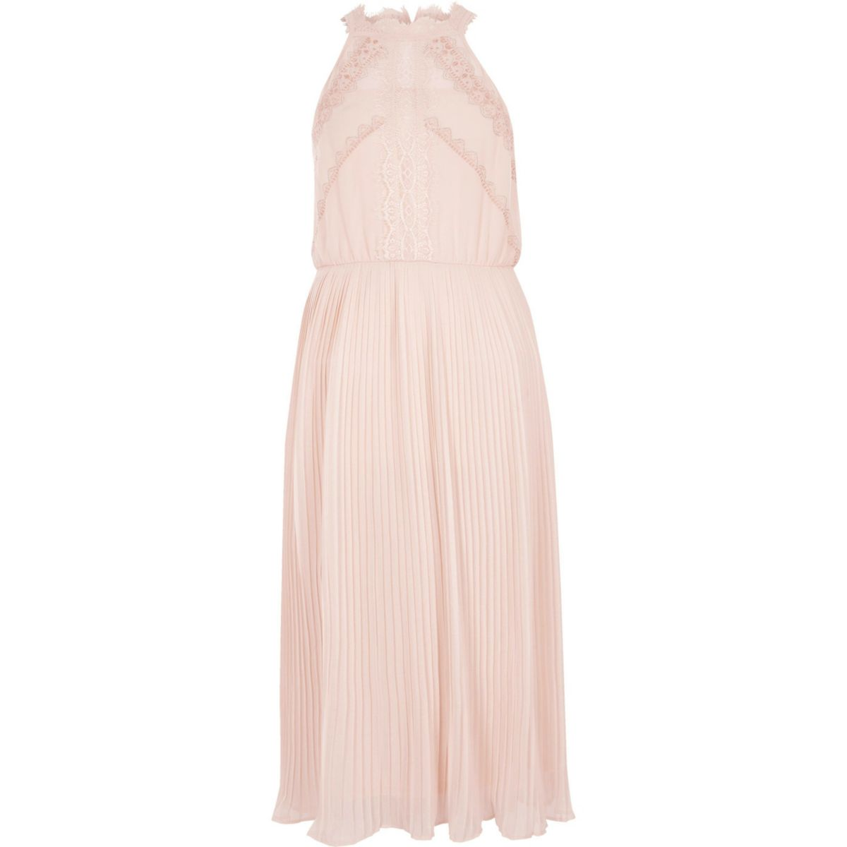 Light beige sleeveless lace midi dress