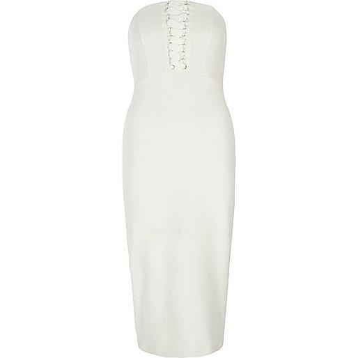 White bandeau lace-up bodycon dress
