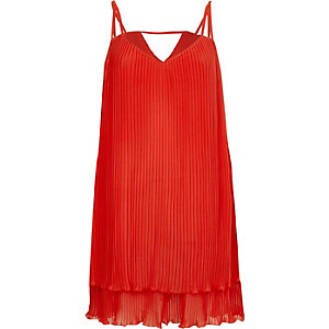 Red pleated cami slip dress