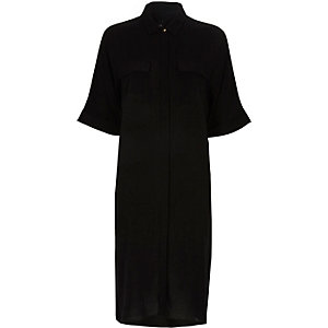 Black midi shirt dress