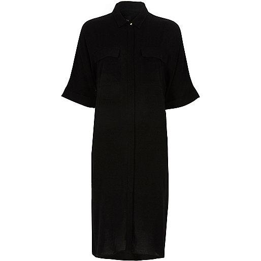 Black midi shirt dress