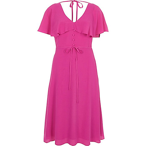 Pink tie neck cape midi tea dress