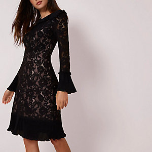 Black lace pleated hem bodycon midi dress