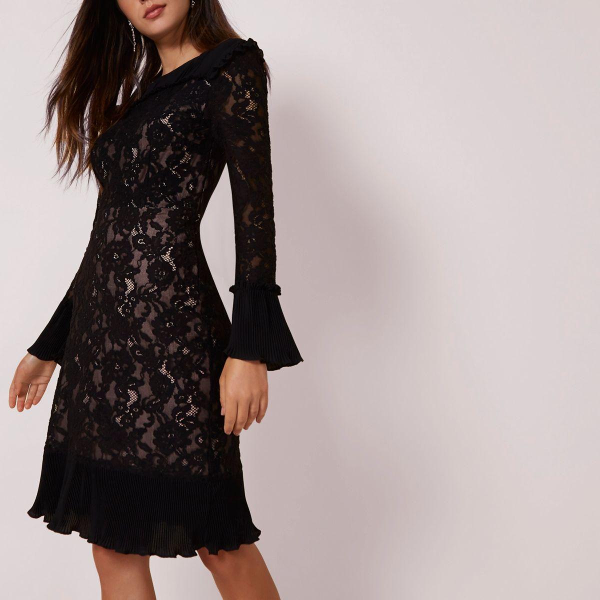 Black lace pleated hem bodycon midi dress