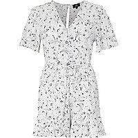 Cream zodiac print tea dress style romper