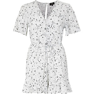 Cream zodiac print tea dress style playsuit
