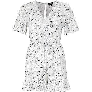 Combi-short imprimé zodiaque crème façon robe d'été