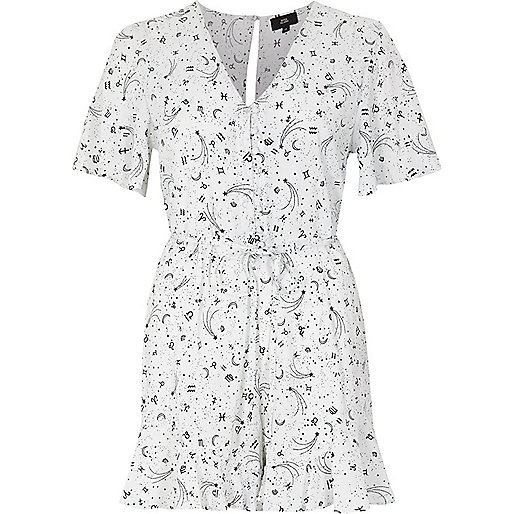 Cream zodiac print tea dress style playsuit