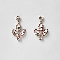 Rose gold tone diamante dangle earrings