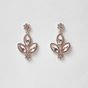 Rose gold tone rhinestone dangle earrings