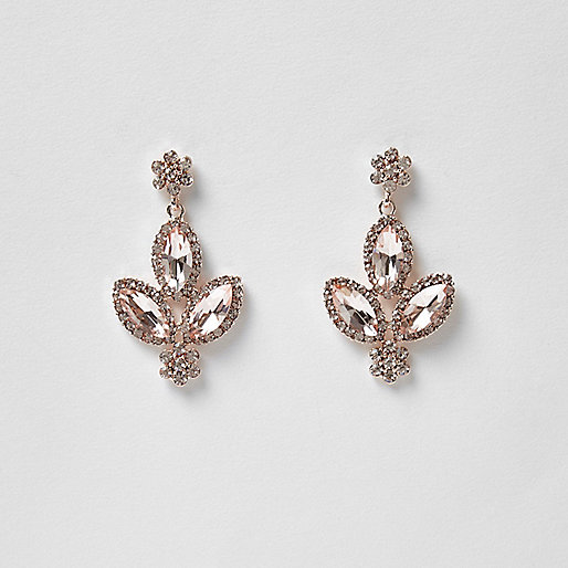 Rose gold tone diamond dangle earrings