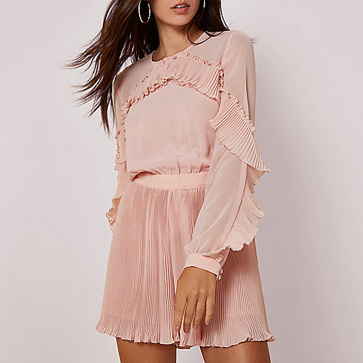 Light pink long sleeve pleated frill playsuit
