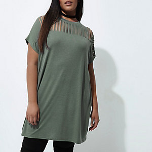 Plus – Oversized-T-Shirt in Khaki
