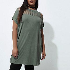 Plus –T-shirt oversize vert kaki à découpes