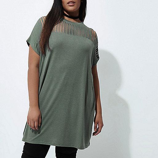 Plus khaki green slashed oversized T-shirt