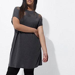 Plus–T-shirt oversize gris foncé à découpes