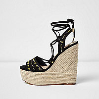 Black studded espadrille platform wedges