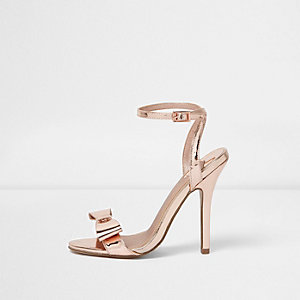 Gold metallic bow barely there sandals