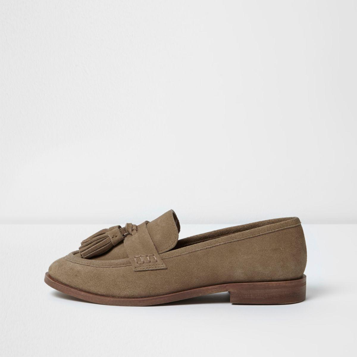 Light brown suede tassel loafers