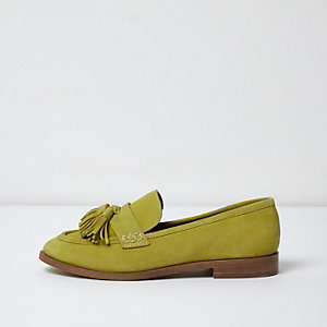 Yellow suede tassel loafers