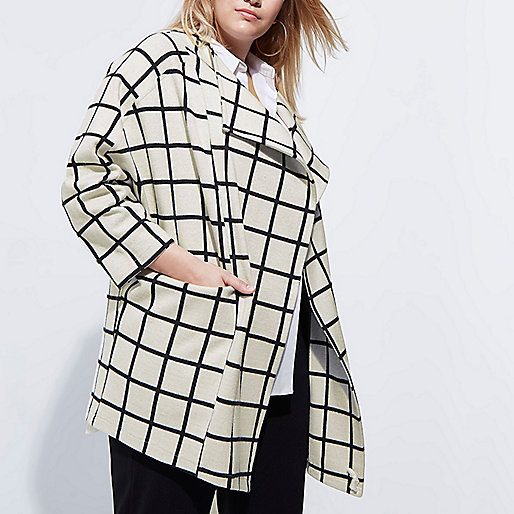 Plus cream check fallaway jacket