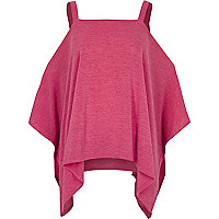 Bright pink knit cold shoulder hanky hem top
