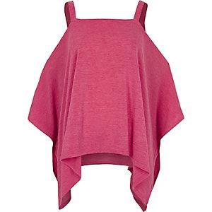 Bright pink knit cold shoulder hanky hem top