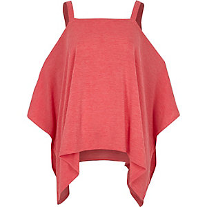 Pink knit cold shoulder hanky hem top